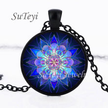 SUTEYI Handmade henna yaga necklace om symbol buddhism Mandala Necklace Pendant Islam Religion Art Jewelry Glass Photo Necklace(China)