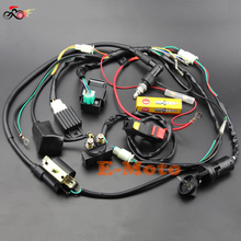 Full Wiring Harness Loom Solenoid Coil Regulator CDI NGK Spark Plug 50 70cc 90cc 110cc 125cc Dirt Pit BIke Electric Start Engine