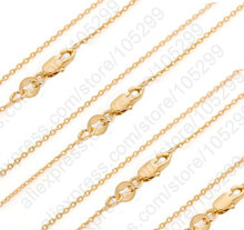 PATICO Bulk 10PCS 30 Inch   Solid Yellow Gold Filled Jewelry Rolo Link Necklace Chains + Lobster Clasps For Pendant