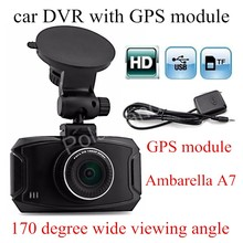 free shipping 2. 7 inch Ambarella A7 Car DVR GS90A Camera HD Recorder Dash Cam With GPS module 170 degreewide viewing angle(China)