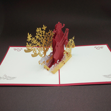 10pcs/lot Laser Cut Invitation Cards Handmade Kirigami & Origami 3D Pop UP Cards Foldable Greeting Card with Envelope