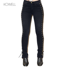 Kowell 2018 New Sexy Bandage Pencil Pants For Women Lace Up Hole Tight Ripped Jeans Female Autumn Slim Trousers TS003(China)