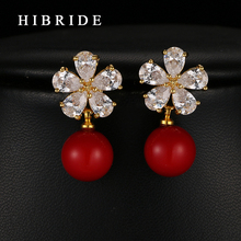 Top Austrian Crystal Flower Shape Earrings For Women Wedding Gifts Red Pearl Drop Earrings For Party Gifts HIBRIDE E-248