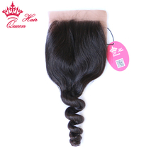 Queen Hair Products Silk Base Closure Brazilian Virgin Hair Loose Wave 100% Human Hair Siwss Lace Natural Color