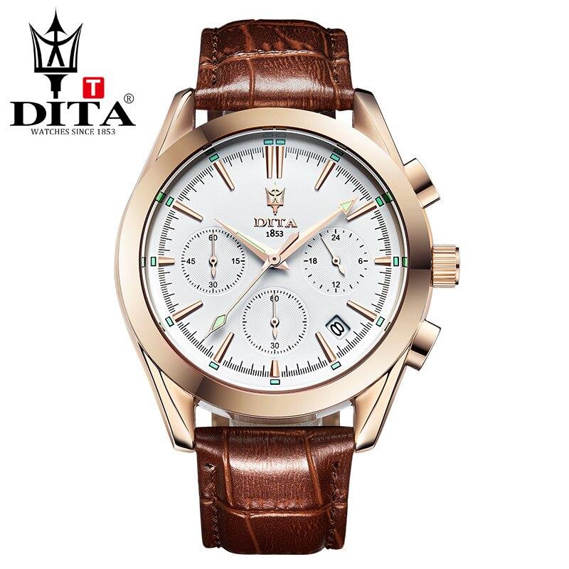 DITA Chronograph Mens analog leather strap sport watch mens  Quartz Wristwatch 3 eyes decoration multifunction brown black strap<br>