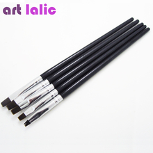 5 Sizes/Set Flat Painting Drawing Pen Nail Art Brushes Acrylic Nail Brush Kit Set UV Gel Brushes Nail Art Tool(China)