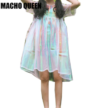 Silver Holographic Women Dress Clothes Laser Hologram Foil Fabric Beach Dress See Through Mesh Dresses