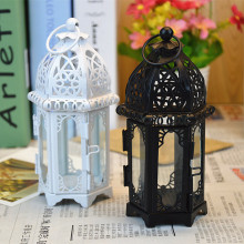 Romantic Style Home Decor Gift Iron Candlestick Hollowout Lantern Candle Holder Pillar Tea Light Candle Holder Stand