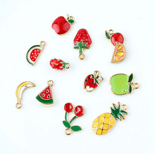50pcs  11 Assorted Metal Fruit Charm Gold Strawberry,apple,banana,cherry,pineapple and watermelon pendant For DIY Jewelry Making