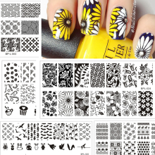 Born Pretty Nail Stamping Plates Lace Flower Animal Pattern Nail Art Stamp Stamping Template Image Plate Stencil Nails Tool(China)