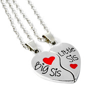 2pcs/set For Sisters BIG SIS LIL SIS Forever best friend Split Heart Family Love Pendant Necklace Gift Bff Necklace(China)
