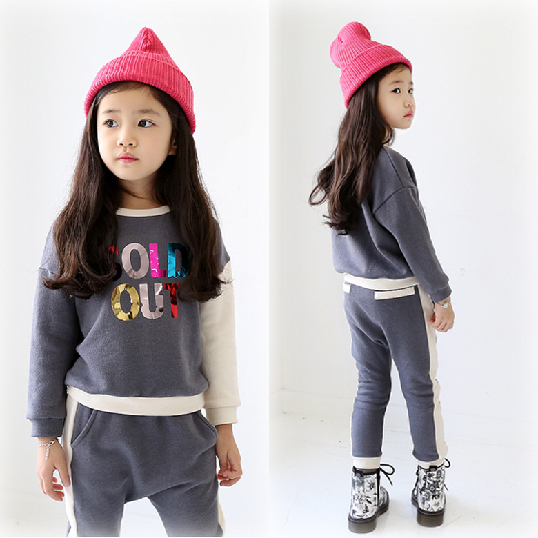 LSK High Quality Winter Girls Clothing Sets Casual Letter Thick Top + Pants 2pcs Suit Toddler Girl Clothing 2015 brand new<br><br>Aliexpress
