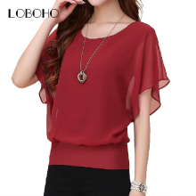 New Womens Tops Fashion 2017 Women Summer Chiffon Blouse Plus Size Ruffle Batwing Short Sleeve Casual Shirt Black White Red Blue(China)