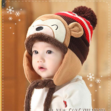 Cartoon Monkey Pattern Cute Kids Baby Crochet Beanie Earflap Hat Cap 6M-2Y(China)