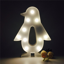 1 X Novelty 3D Penguin Shape Night Light Plastic LED Night Lamps Kids Room Bedroom Bedside Lamp Party Wedding Home Decorations