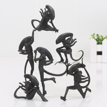 6pcs/set Alien Daily life Hang Down Squat Daydream Yoga Relax Headspin Aliens VS Predators Action Figures Toys(China)