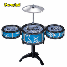 Surwish Children's Kid's Jazz Drum Set Musical Instrument Toy Playset with 3 Drums, Cymbal, Stand, Drumsticks - Random Color(China)