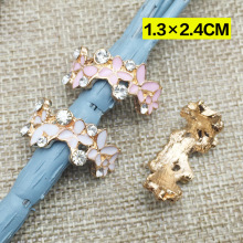 Curved alloy enamel rhinestone buttons,DIY hair ornaments handmade bow,Rhinestone faceplate diamond buckle(China)