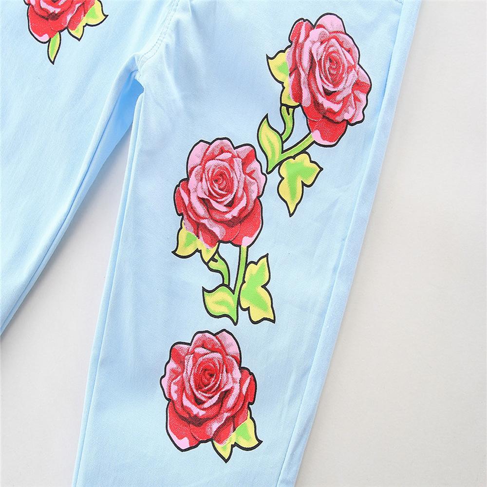 1-7Y En Bas Âge Enfant Bébé Fille Vêtements Coton À Manches Longues O-cou T-shirt Tops Floral Denim Jeans Pantalon 2 pcs Ensemble Bébé vêtements Outfit 8