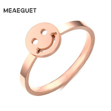 Meaeguet Round Smile Ring For Women Rose Gold Color Mood Rings Titanium Steel Wedding Bands Bague Jewelry(China)