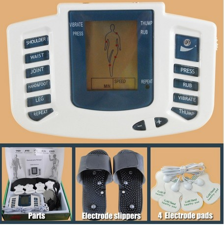 JR-309 Hot new Electrical Stimulator Full Body Relax Muscle Therapy Massager,Pulse tens Acupuncture with therapy slipper+ 4pads(China (Mainland))