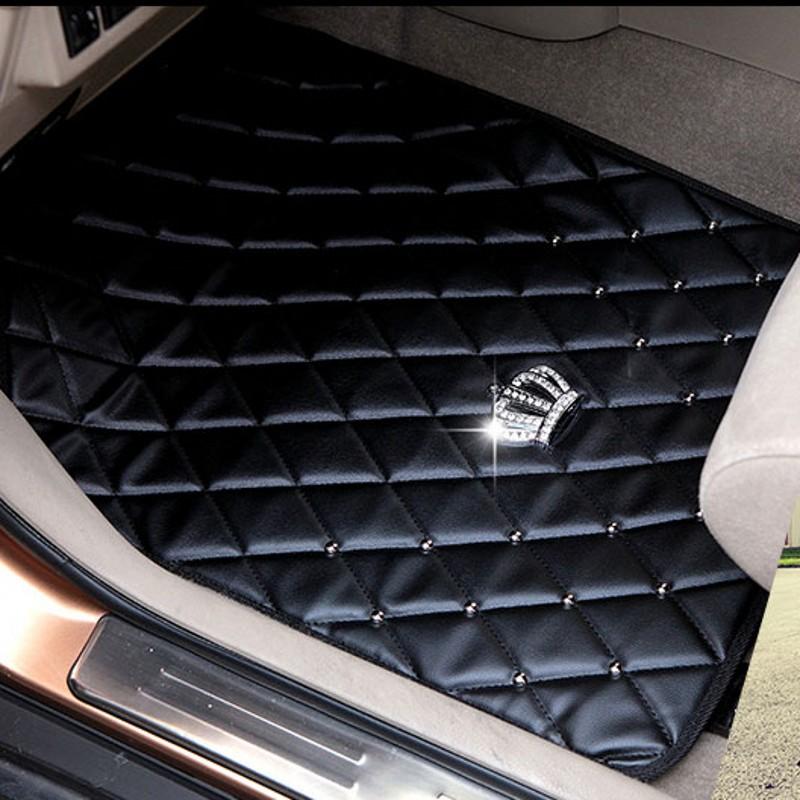 Rivet-Crown-Leather-Carpet-Floor-Mats-Universal-Fit-Mat-for-Car-SUV-Van-Front-Rear-3