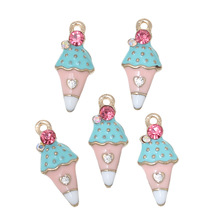 "Doreen Box Charm Pendants Ice Cream Light Golden Multicolor Pink Rhinestone Enamel 23mm( 7/8"") x 10mm( 3/8""),5 PCs 2016 new"