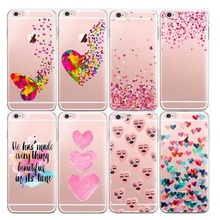 Watercolor Butterfly Pink Love Heart Capa Shell Transparent Silicon Protective Phone Skin Cover For iphone6 6s Plus 5 5s SE Case