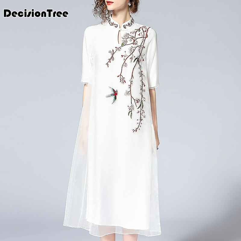 2019 summer vintage elegant embroidered cheongsam dress chinese style half sleeve qipao dress party daily women lace dress