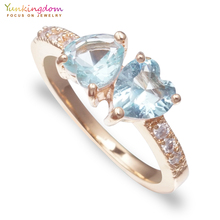Fashion Light Blue Rings Wholesale Series Romantic Heart Crystals Jewelry Women(China)