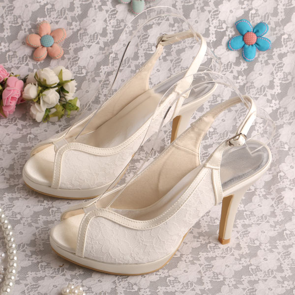 Wedopus MW315 Slingback Style Women Shoes Sandals Lace Beige High Heels Bridal Shoes<br><br>Aliexpress