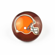 20pcs18mm Cleveland Browns USA Football Glass Snap Buttons Charms Fit Snap Bracelet/Necklace DIY Jewelry(China)