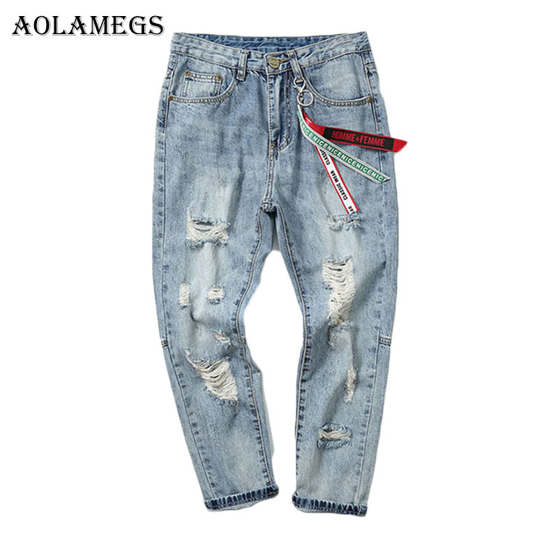 Aolamegs Ribbon Rippeds Jeans For Men Holes Pants Mens Selvage Skinny Jeans Baggy Brand Denim Cotton Trousers Bottoms FashionÎäåæäà è àêñåññóàðû<br><br>