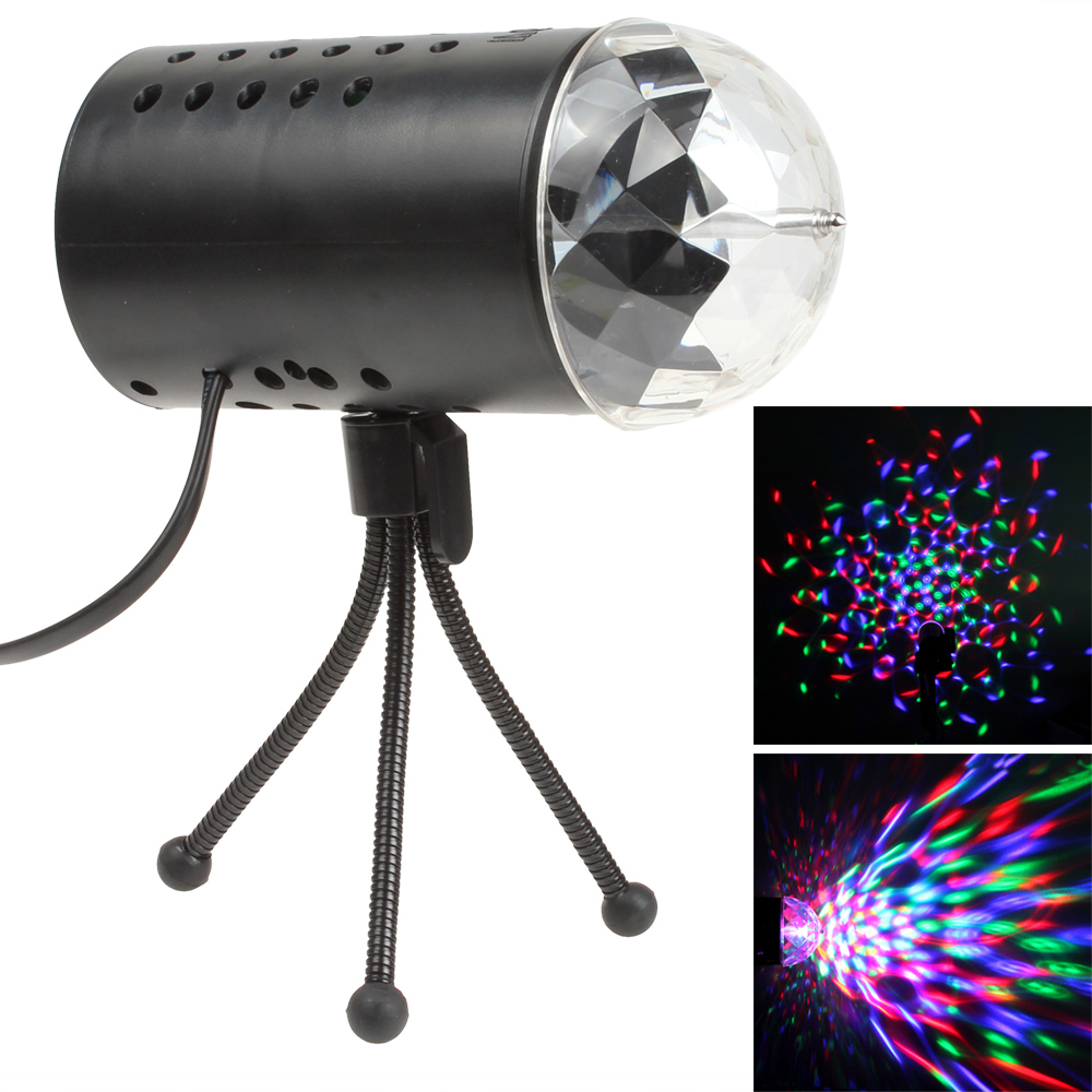 hot Auto RGB LED 3W Crystal Magic Ball Stage Lighting Effect Light Lamp for DJ Pubs Clubs<br><br>Aliexpress