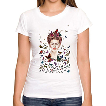 Hot Sale graphic Mexican Frida Kahlo and butterflys T Shirt Short Sleeve Women T-shirt Novelty Tee Frida Kahlo Printed Shirts
