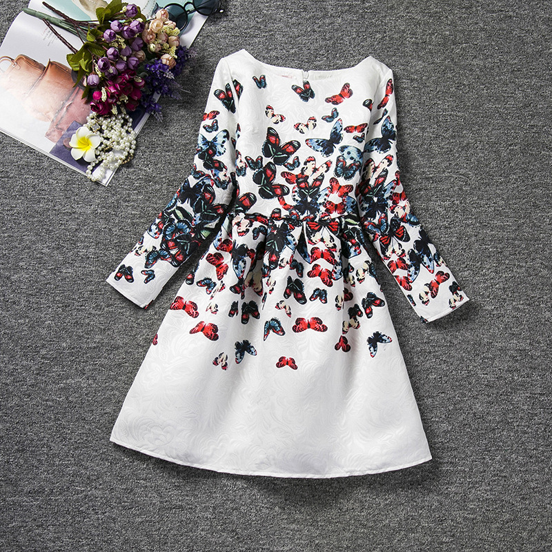 2016 spring and summer high-end european butterflies animal print kids clothes girls dresses long sleeves casual<br><br>Aliexpress