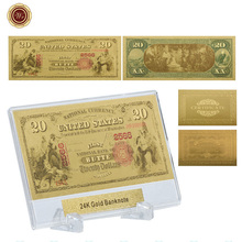 WR Home Decoration Items 20 Dollar 24k Gold Banknote Unique Gifts 24k Gold Foil World Paper Money Bill Note with Showing Stand(China)