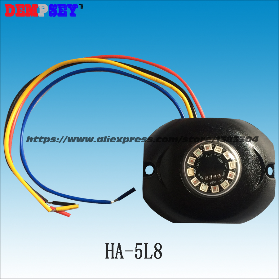 HA-5L8 High power DUAL COLOR LED Hide away warning light,Vehicle Emergency surface mount light,DC10-30V headlight,12*3W LED,IP68<br>