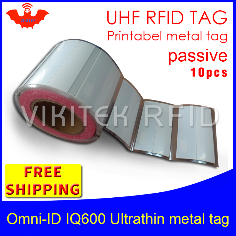 UHF RFID ultrathin anti metal tag omni-ID IQ600 915m 868mhz Impinj M4QT 10pcs free shipping printable synthetic passive RFID tag<br>