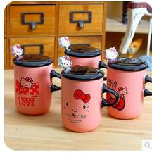 Sweet Love Bow Hello Kitty Ceramic Coffee Milk Tea Mug Cup With Lid Spoon Best Gift For Girl