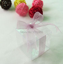 100pcs/lot Bomboniere Wedding Party Favors Boxes Clear PVC Wedding Boxes/Candy boxes 1.2*1.2*1.2 Inch (3*3*3cm) small size