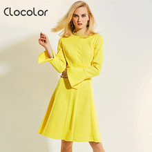 Clocolor Women Vintage Dresses 2017 Spring Summer Stand Collar Long Sleeve Yellow Mid-Calf Zipper A-Line Women Vintage Dresses(China)