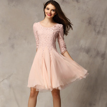 Hot Sale Women Clothing Slim Lace Dress Three-quater Sleeve Chiffon Princess Dress  Summer Spring Drees European Elegant Cute