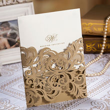 50pcs/lot Golden Laser Cut Flora Wedding Invitation Cards Hollow Bronzing Foil Wording Party Decoration Mariage Cards(China)