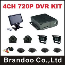 4CH AHD 720P mobile DVR Kit,with 2pcs waterproof square IR camera and 2pcs side view camera for car, bus ,fuel tank,truck used