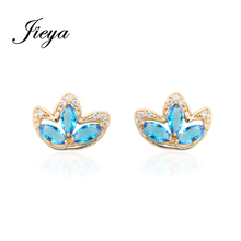 Romantic Clover Light blue Cubic Zirconia 585 Gold Chandelier Earrings Fashion Women Jewelry Statement Vintage Drop Earrings