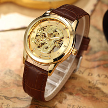 Luxury Dragon Skeleton Watch Automatic-Self-Wind Mechanical Watches For Men Wrist Watch Leather Brand Gold Waterproof relogio(China)