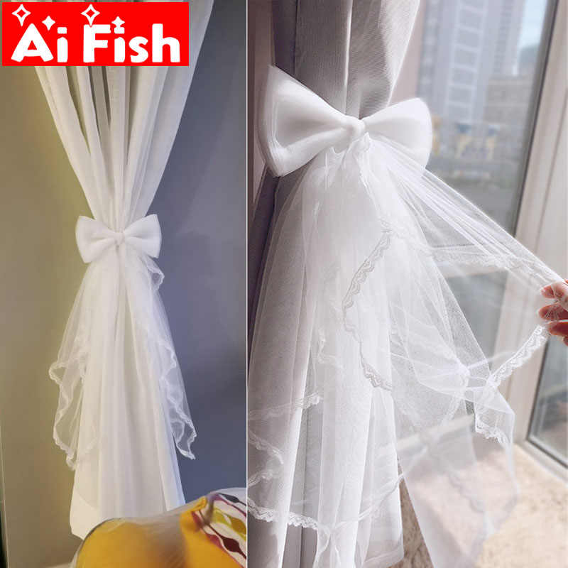 Sheer Gauze Window Curtains Strap Tying Buckle White Lace Bow-knot Clip Belt Tied Creative Headwear home Party Decoration A49-4