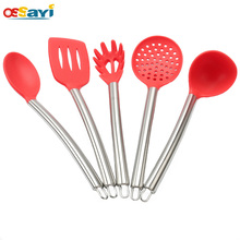 1PC Kitchen Food Grade Silicone Utensil Non-stick pan special Cooking Tools High Quality Stainless Steel Handle Utensils(China)