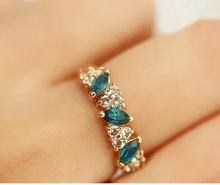 ra067 Green crystal Sweet feeling of restoring ancient ways female sparking statement ring jewelry wholesale